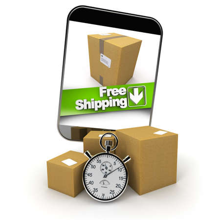 3D rendering of a purchase from a smartphone with a free shipping photo