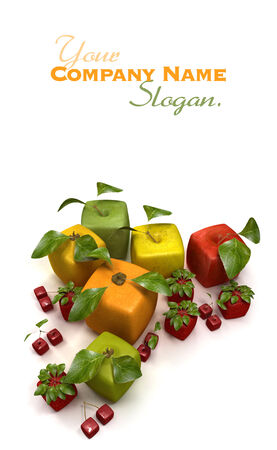 manipulated : alter: 3D rendering of a selection of cubic fruits Stock Photo