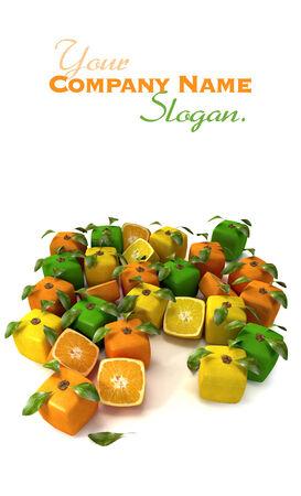estrange: Cubic oranges, lemons and limes composition Stock Photo