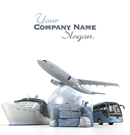 travel agency: 3D rendering of a world globe, an airplane, a cruise ship and a coach bus with a high key pile of luggage Stock Photo