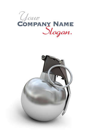 blank bomb: Hand grenade in chrome and black against a white background