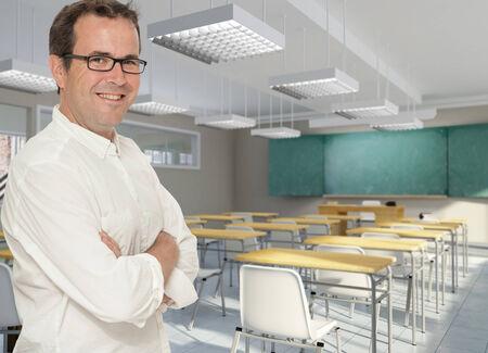 formulae: Smiling teacher in a classroom