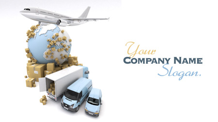 3D rendering of the Earth, cardboard boxes, a van, a truck and a flying plane photo
