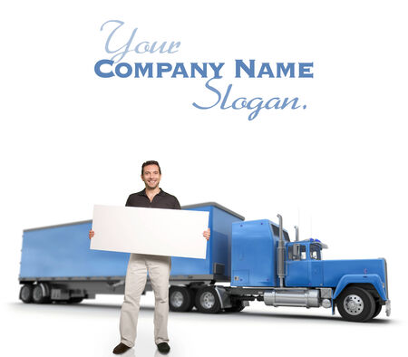 A man holding a blank message board with a big blue truck on the background photo