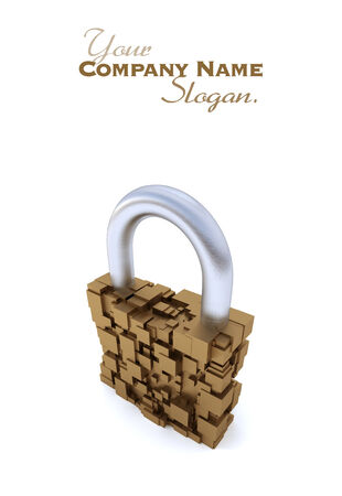 safety slogan: 3D rendering of a futuristic padlock Stock Photo