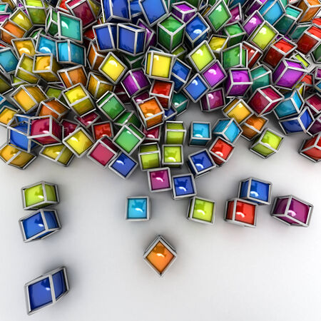 3D rendering of a Group of colorful cubic shapes photo