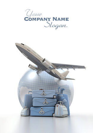 A flying plane, the Earth and a pile of luxurious luggage rendered in blue shades photo