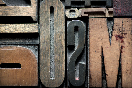 typescript: Composition with vintage wooden typescript letters