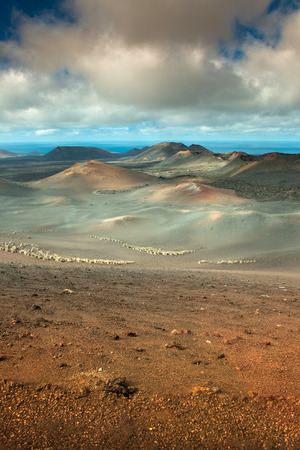 volcanic landscape: Volcanic landscape with the ocean  Stock Photo