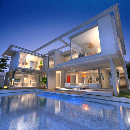 luxury house exterior: External view of a contemporary house with pool at dusk