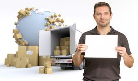 consignment: Man holding a blank sign, in an international transportation context, ideal for inserting your own message Stock Photo