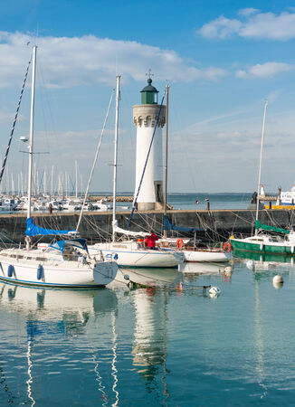 anchoring: View of the lighthouse in Quiberon, Brittany, France Stock Photo
