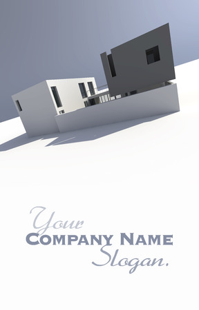 company building: 3D rendering of a modern house  with lots of copy space