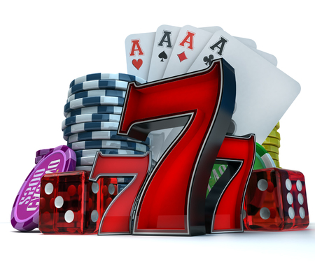 casino tokens: 3D rendering  composition with different gambling elements