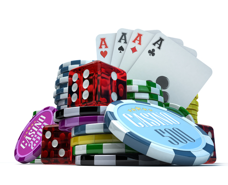 3D rendering  composition with different gambling elements photo