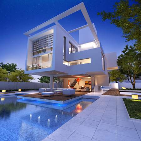 opulence: External view of a contemporary house with pool at dusk