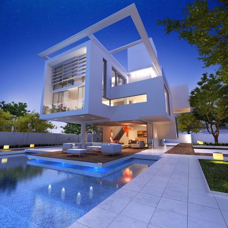 Externe weergave van een moderne woning met zwembad in de schemering