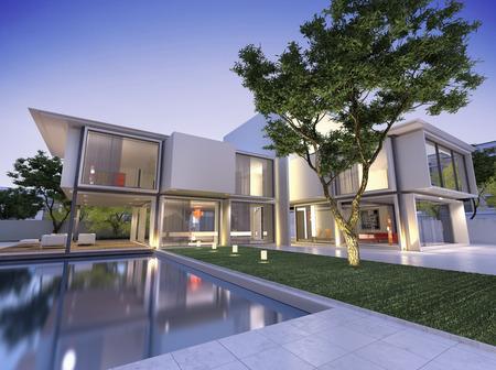 case moderne: Veduta esterna di una casa contemporanea con piscina al crepuscolo Archivio Fotografico