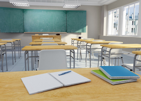 3D rendering of a school classroom