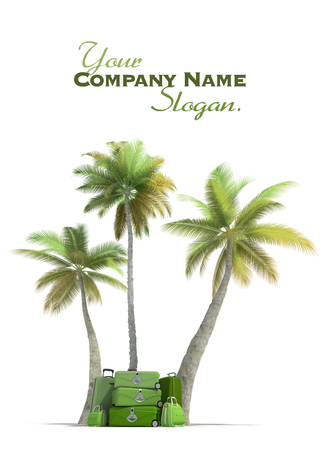 tree services company: Island like composition showing tropical vegetation and beautiful green  luggage