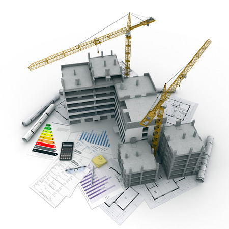 Building under construction with blueprints, bank forms, energetic efficiency charts, and a calculator
