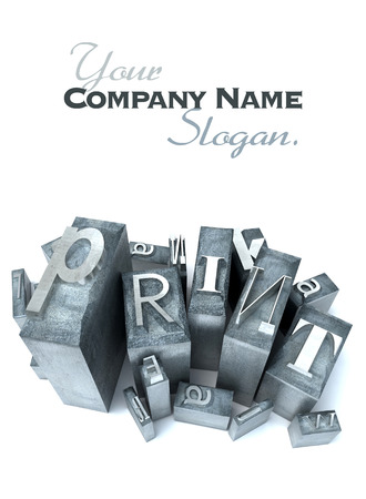 printing logo: heap of letter cases forming the word print Stock Photo