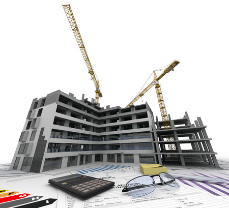 property: Building under construction with blueprints, bank forms, energetic efficiency charts, and a calculator