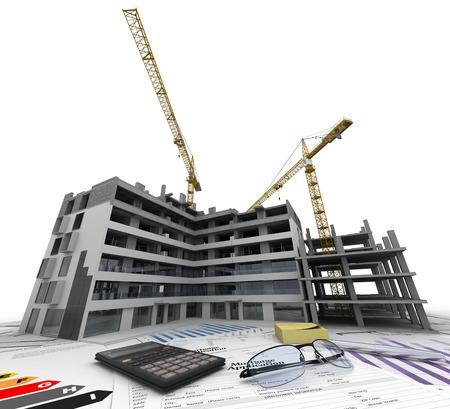 house: Gebouw in aanbouw met blauwdrukken, bank vormen, energetisch rendement grafieken en een rekenmachine