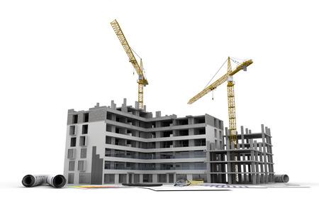 Edificio en construcción con planos, formularios bancarios, cartas de eficiencia energética, y una calculadora Foto de archivo - 32392335