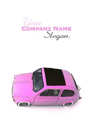 eccentric: Aerial shot of a soft top pink European vintage car