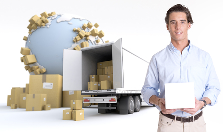Young man holding a blank white box in an international transportation context, ideal for inserting your own message photo