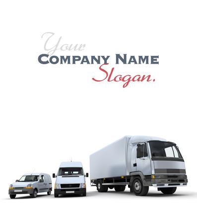 3D-weergave van een vrachtwagen, een bestelwagen en een vrachtwagen tegen een neutrale achtergrond Stockfoto