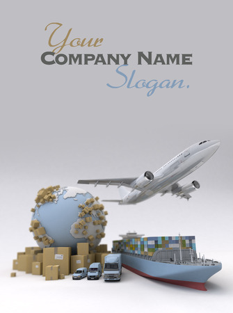 Image vracht vervoer met de Aarde Stockfoto - 32790822