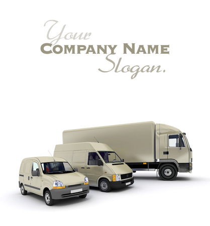 3D rendering of a truck, a van and a lorry against a neutral background