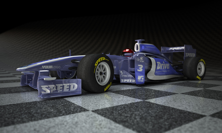 formula one car: Race car with fake logos in a checkered background