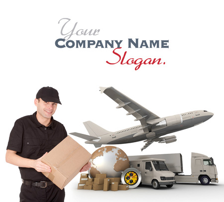 A messenger holding a package with a world map, packages, a chronometer,  a van, a truck and an airplane as background