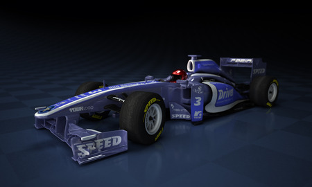 indy cars: Race car with fake illustration in a checkered background Stock Photo