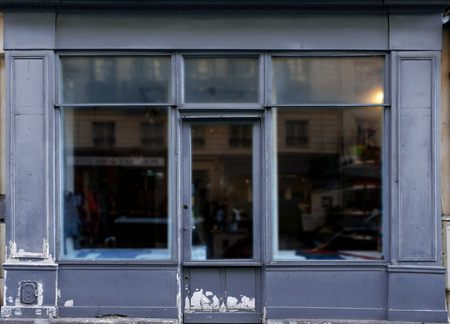 store window: Old blue gray shop in Paris with lots of copy space Stock Photo