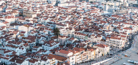 aereal: Aerial view of a coastal town in Portugal called Nazare