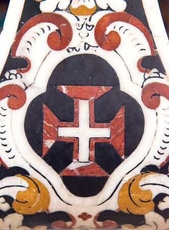 templars: Marbel decoration in Portugal with the Templars cross Stock Photo