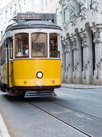 tramway: Yellow tramway in Lisbon