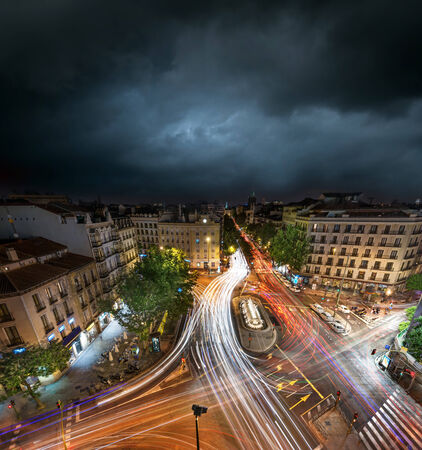 Downtown Madrid late at night, long exposure photo