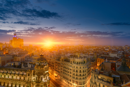 aerial: Spectacular view of Madrid at dusk Stock Photo