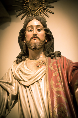 sacred heart: Sacred Heart of Jesus sculpture in Portugal Editorial