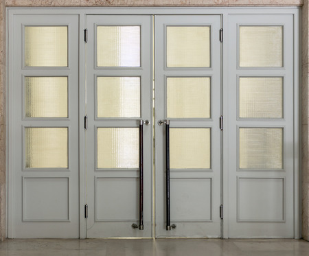 glass doors: Gray quartered doors with glass panels