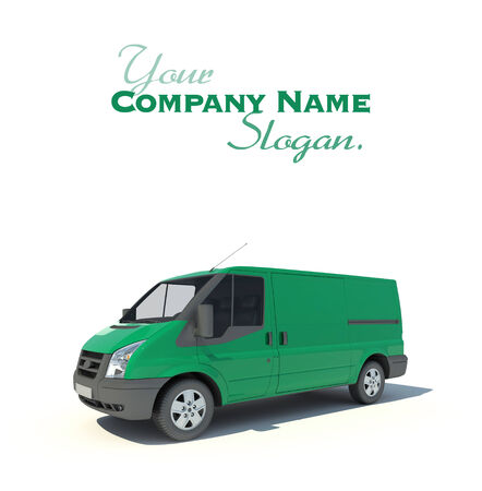 3D rendering of a green transportation van with no brand name