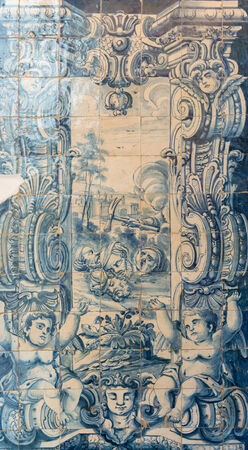 beheaded: Scenes painted in azulejos in the inside of a church in Portugal