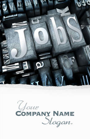 job hunt: The word Jobs written with typescript letters among other characters Stock Photo