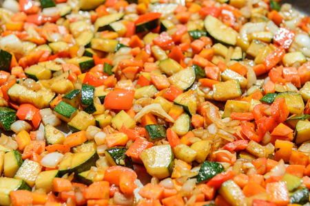 sautee: Vegetable casserole with ingredients similar to ratatouille or Pisto Stock Photo