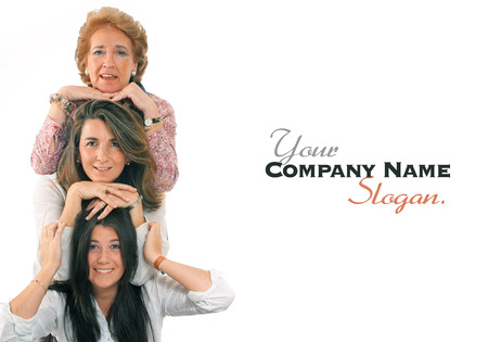 Women of three generations of the same family with lots of copy space Banque d'images